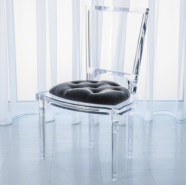 A marilyn acrylic side chair from Global Views.