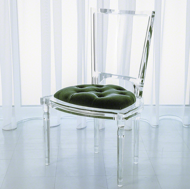 Italian molded clear acrylic was inspired by our best selling Marilyn chairs. This version features a rich juxtaposition of a tufted mohair cushion with traditional silhouette in clear acrylic. Available in 6 saturated colors. Dye lots may vary slightly.