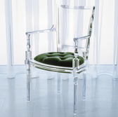 Italian molded clear acrylic was inspired by our best selling Marilyn chairs. This version features a rich juxtaposition of a tufted mohair cushion with traditional silhouette in clear acrylic. Available in 7 saturated colors. Dye lots may vary slightly.