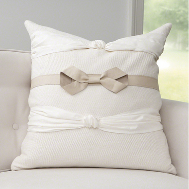 Designer bow pillow filled with goose down