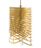 These luminous rings are, in fact, a continuous spiral hand-cut from one sheet and wrapped around a single light. Sculptural, delicate, and the perfect example of jewelry for the home, this cylindrical pendant would be a stunning addition to a powder room or foyer. Features a beige cloth cord and shown with a tubular bulb.