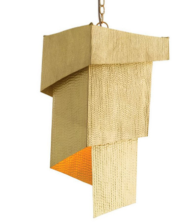 Jewelry for the home. Starting with one long continuous sheet of solid brass, 3 different patterns are hammered into the surface before it is carefully folded around a single light to create an origami-inspired box design. This brass finish is so warm it mimics the look of Italian gold.