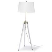 Regina Andrew Brigitte Floor Lamp - Brass.  Modern style tripod adjustable floor lamp.  Base has combination white and natural brass finish for the sleek modern look.  White drum shade.