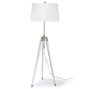 Regina Andrew Brigitte Floor Lamp - Brass.  Modern style tripod adjustable floor lamp.  Base has combination white and natural brass finish for the sleek modern look.  White drum shade.