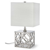 An arabesque mini lamp with a stylish metallic base.