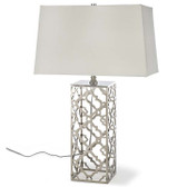 Regina Andrew - Arabesque Table Lamp - Modern style table lamp.  Base has nickel finish for the sleek modern look.  White rectangle shade.