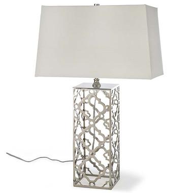 Regina Andrew - Arabesque Table Lamp - Modern style table lamp.  Base has nickel finish for the sleek modern look.  White rectangle shade.