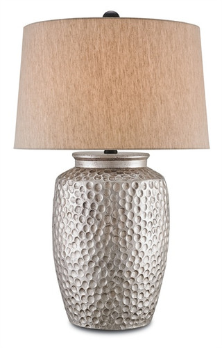 Bringing to mind the rustic metalworking of artisans in India and South America, the brilliant terracotta construction of the Dwyer Table Lamp perfectly recreates the look of hammered steel. With an Antique Silver finish, each nook of the dappled surface of this singular lighting accent beautifully reflects light from under an Oatmeal Linen shade.