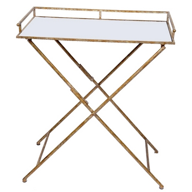 Champagne mirrored rectangular tray table with gallery