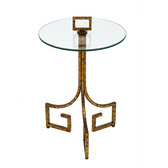 Verona glass topped accent table with antique gold finish