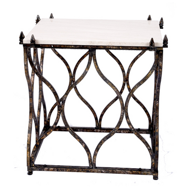 Scott side table with stone top in aged black and gold finish.
