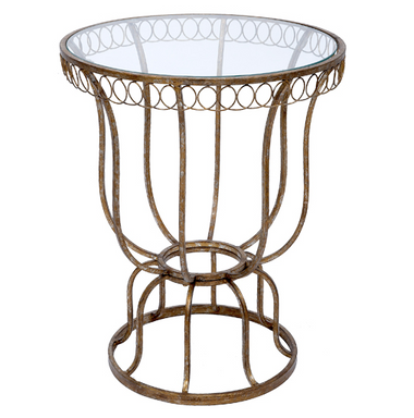 Chelsey champagne gold finish traditional accent table lamp with clear glass top.