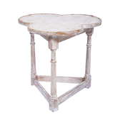 Clover gate leg table with scrubbed pine finish.