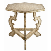 Six sided french white finish table. Perfect for an entry way or as an oversize end table!