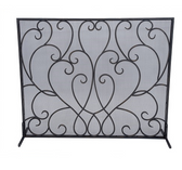 A bronze scroll fireplace screen from Old World design.