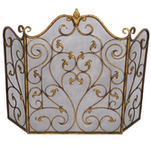A vivian scroll fireplace screen from Old World Design.