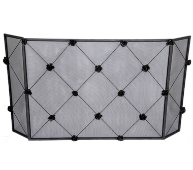 A rose trellis fireplace screen by Old World Design.