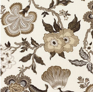 A relaxing floral print wall covering by Schumacher.