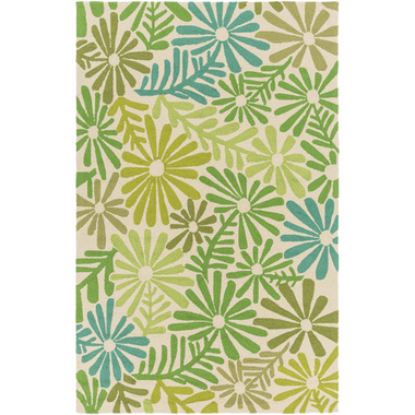 An outdoor rug with an exciting blue and green floral design for your home.