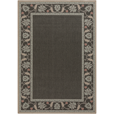 An outdoor rug with an earthy moss, black, and beige design for your home.