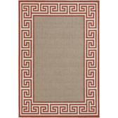 An outdoor rug with a classic rust and beige design for your home.