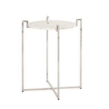 "Nickel finish marble top side table 24"" high 20"" diameter Greek Key design"