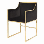 "Worlds away Anabelle black velvet chair with gold frame 20"" seat height 28"" arm height other dimensions 20.5"" wide 34' High 21' deep"