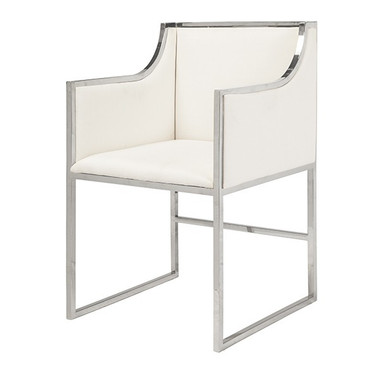"""white linen nickel frame modern sleek arm chair 20"""" seat height 28"""" arm height other dimensions 20.5' wide 34"""" high 21"""" deep"""
