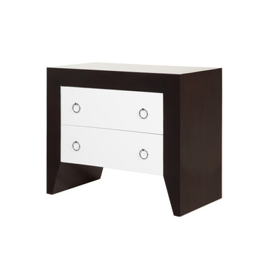 """White Drawers in a rosewood casing featuring nickel pulls 34"""" wide 29"""" High and 18"""" Deep"""