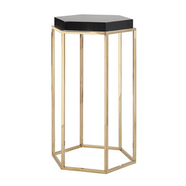 """Brass Base Black Lacquer Top Octagonal Side table  15"""" Wide 25"""" High 13"""" Deep"""