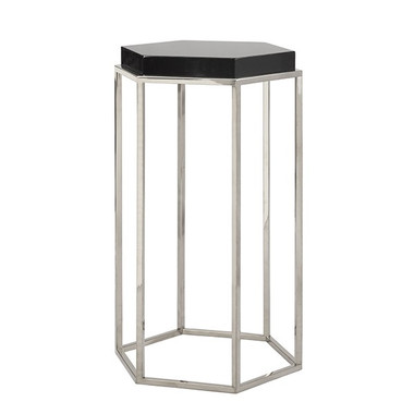 """Nickel base black lacquer top side table with Octagonal shape 15""""Wide 25"""" High 13"""" Deep"""