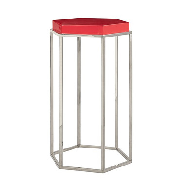 """Red Lacquer Top Brass Base Octagonal Side Table 15"""" Wide 25"""" High 13"""" Deep"""