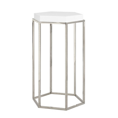 """White Lacquer Nickel Base Side Table with Octagonal Shape 15"""" Wide 25"""" High 13"""" Deep"""