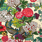 DESIGN INSPIRATION:  One of Schumacher's best-loved designs, Chiang Mai Dragon was originally derived from an exuberant 1920's Art Deco era block print.