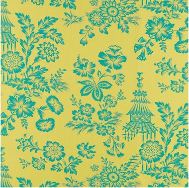 DESIGN INSPIRATION  The charismatic flower and pagoda design that decorates Song Garden is based on an 18th-century document fabric—an early example of French Chinoiserie that relied on wood-block printing, rather than engraved plates, for its simplified motif. The results have a graphic, hand-hewn charm that's hard to resist. To highlight that effect in this new linen adaptation, we enlarged the pattern in a lavish scale, giving the centuries-old scheme a fresh and modern relevance. Colorways only augment the allure: Lacquer is a combination of white against deep red, Greige blends light gray and charcoal, Cocoa marries ivory with brown, and Chartreuse is a mélange of aqua and citron green hues.