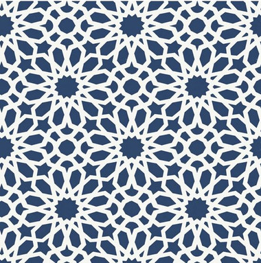 DESIGN INSPIRATION  This wallcovering's geometric floral pattern has a stunning kaleidoscope effect that is both exotic and universal. The tight pattern provides the structured feel of a glorious stained glass window and can bring any space to life. Colorways feature Noir, a brilliant Lapis, and a rich Mocha.