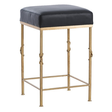 """Beautifully designed Arteriors brushed brass finish counter height bar stool with black leather top, 24"""" high and 15"""" X 15"""" square top"""