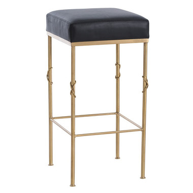 """The Palmer Black leather top Bar Stool at 30.5"""" High and 15"""" x 15"""" black leather top with beautiful brushed satin brass frame accented with sophisticated knot design on legs ,glamorous and yet highly functional"""