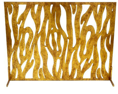 Animal Design Fireplace Screen with Fold Finish