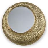"asymmetrical hammered matte gold finish mirror  22"" diameter"