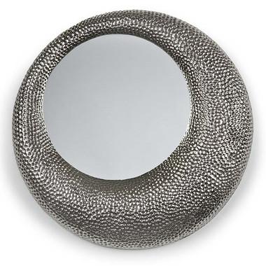 hammered nickel round mirror