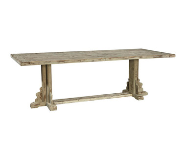 Brushed gray finish on large farm table with trestle base