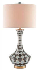 A modified mid-century modern silhouette accentuates the striking and whimsical motif that distinguishes the Harlequin Table Lamp. Blue and Black Gold diamonds stretch across the porcelain curves of this eye-catching accent, flecked with Antique Brass details and topped with a Honey Beige drum shade.  DIMENSIONS: 32h SHADES: Honey Beige Shantung 16x16x11 MATERIAL: Porcelain/Brass FINISH: Blue/Black Gold/Antique Brass