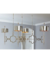 "The quatrefoil decorative grill on the pendants is aluminum with a nickel finish; the hammered shades on the pendant lights are nickel colored stainless steel with solid nickel stems. The three rod chains meet in a single oblong canopy.This striking design and combination of materials will be a strong memory in any setting. Overall: 63.75""L x 34.5""W x76""H Shade: 10""Dia. x 5""H Canopy: 31.25""L x 6.25""W x 2.75""H"