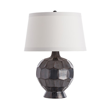 Each faceted section of this spherical-shaped ceramic lamp reflects the light a bit differently, emphasizing the surface pattern and enhancing the gunmetal glaze. The beautiful gray coloration is an updated neutral, a perfect accent to pastels or darks. Topped with a tapered ash microfiber shade and darker, gunmetal finial to match. Finish may vary. Overall Dimension H: 25 Overall Diameter: 18 Overall Foot Print Dimensions: 6.5 dia Body Dimension H: 14.5 ocket Quantity: 01 Socket Type: Type A- E26, 3-Way Socket Wattage: 150 Switch Color: Black Switch Location: At Socket Switch Type: 3-Way Rotary Cord Color: Clear/Silver Cord Length (Exit): 8