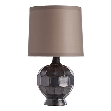 Gun Metal Modern style lamp with Taupe Drum shaped shade