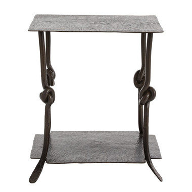 The Arnot Side Table is a great example of how artisan crafted designs can look fresh and modern. From the hand-hammered steel surfaces to the hand-forged iron knot detail on the legs to the natural iron finish, this table needs to be seen and appreciated, try it between 2 chairs or as a side table next to a bed.