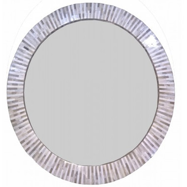 """multitone bone inlaid round mirror 32"""" in diameter"""