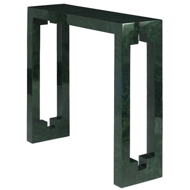 SMALL CONSOLE TABLE IN MALACHITE WITH CUTOUT DETAIL ON SIDE.