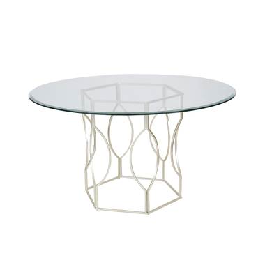 SILVER LEAFED HEX DINING TABLE BASE ONLY COLOR: Silver